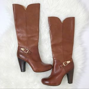 SOFFT | Heeled Brown Boots Knee High Leather 8.5